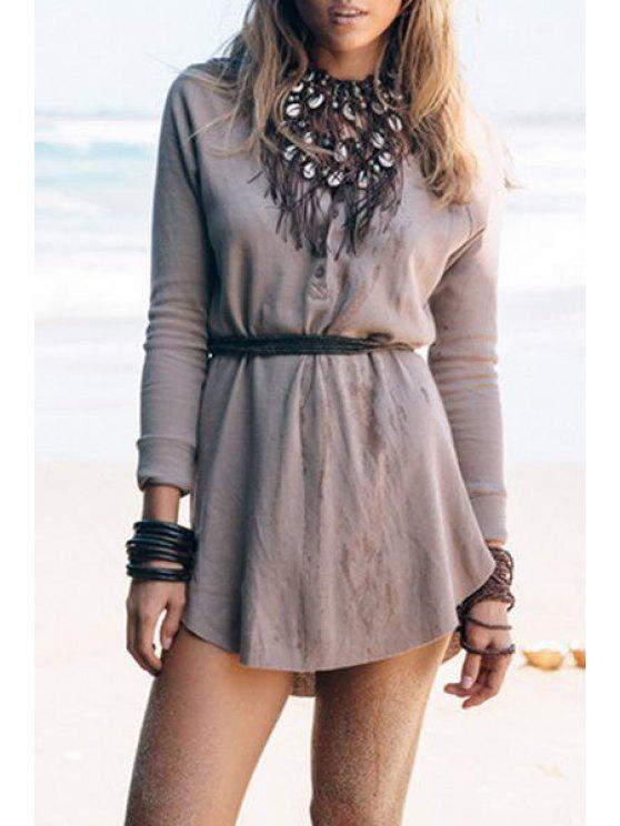 ladies V-Neck Solid Color Long Sleeve Dress - KHAKI S