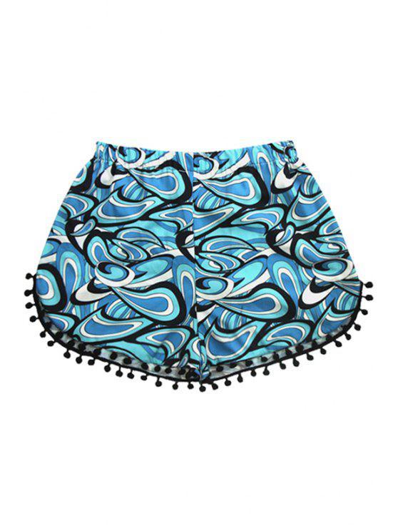 unique Elastic Waist Laciness Geommetic Print Shorts - BLUE S