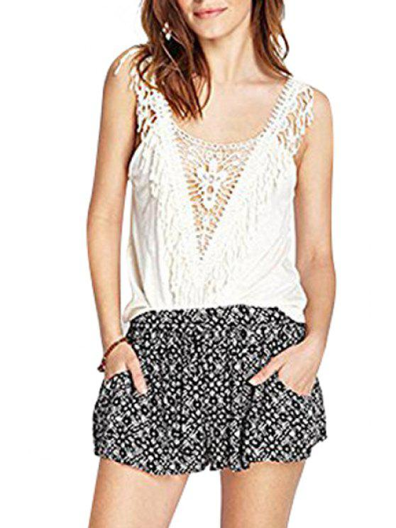 fancy Lace Splicing Scoop Neck Solid Color Tank Top - WHITE S