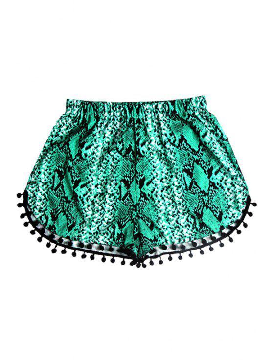 lady Elastic Waist Laciness Printed Shorts - GREEN S