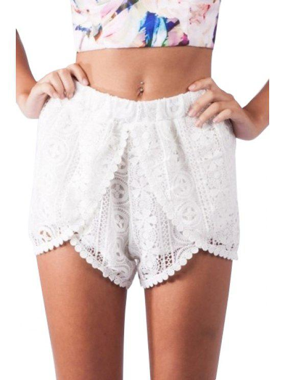 sale Solid Color Floral Lace See-Through Shorts - WHITE S