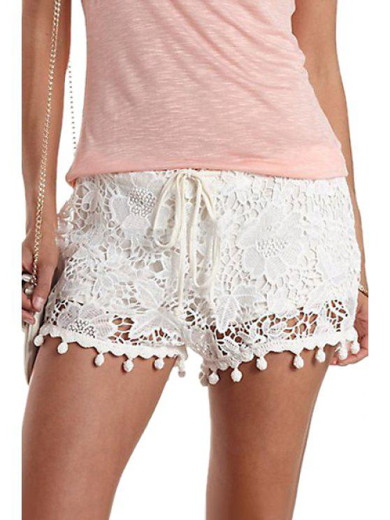 ladies Lace White Drawstring Shorts - WHITE ONE SIZE(FIT SIZE XS TO M)