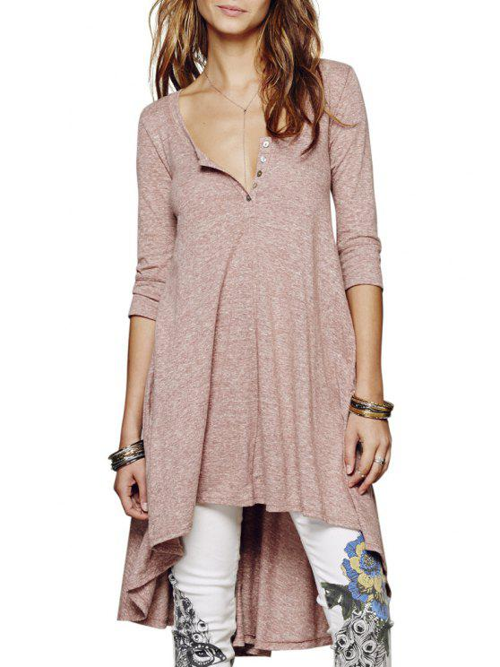 shop Solid Color Loose-Fitting Half Sleeve Dress - BROWN M