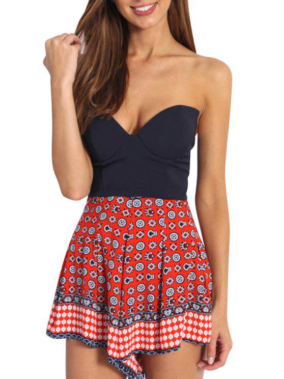 trendy Strapless Backless Printed Romper - RED S