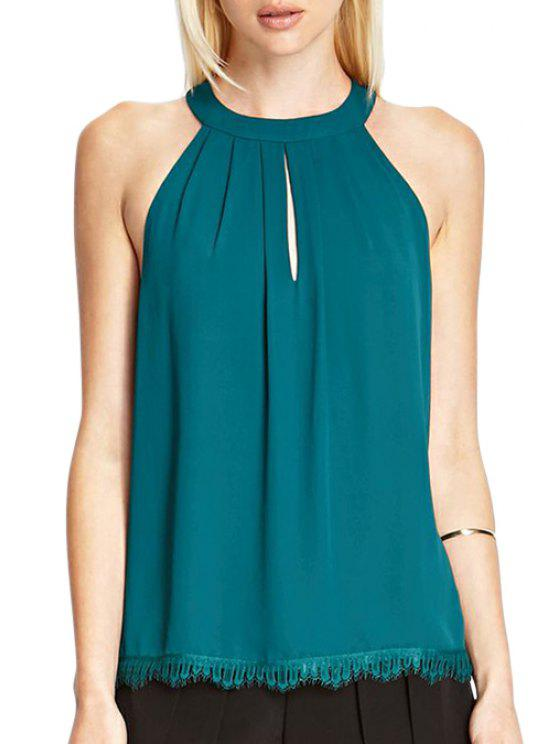 shop Solid Color Keyhole Neckline Sleeveless Blouse - GREEN L