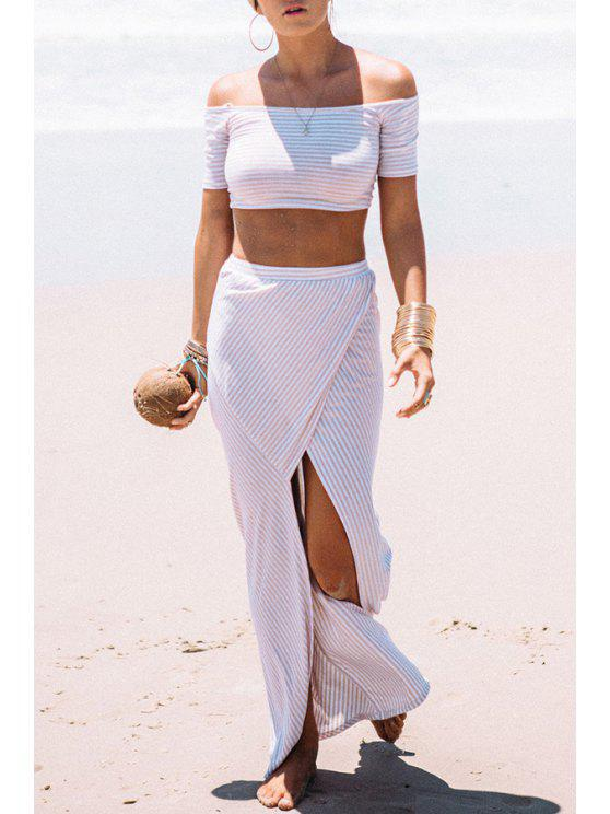 best Slash Neck Stripe Crop Top + High Slit Skirt - WHITE S