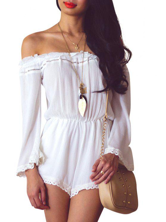 women's Lace Splicing Solid Color Long Sleeve Romper - WHITE S