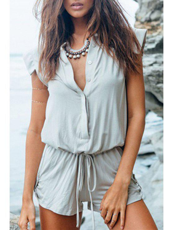fancy Solid Color Sleeveless Playsuit - GRAY S