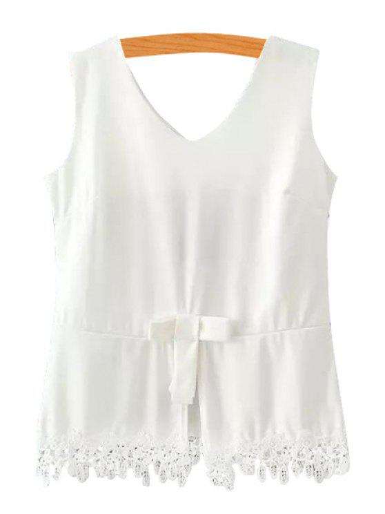 ladies Solid Color Bowknot Lace Splicing Tank Top - WHITE S