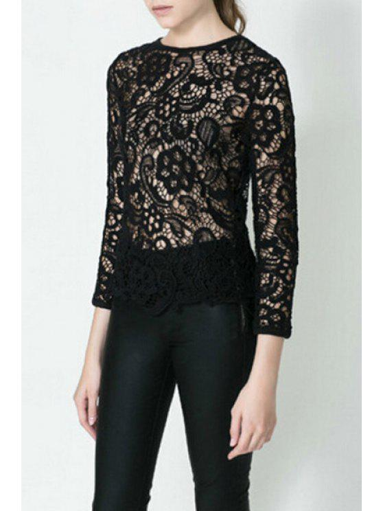 lady Hollow Lace 3/4 Sleeve Blouse - BLACK S