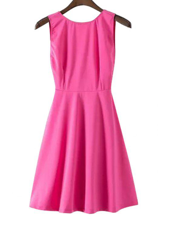 affordable Jewel Neck Backless Solid Color Sleeveless Dress - PINK XS