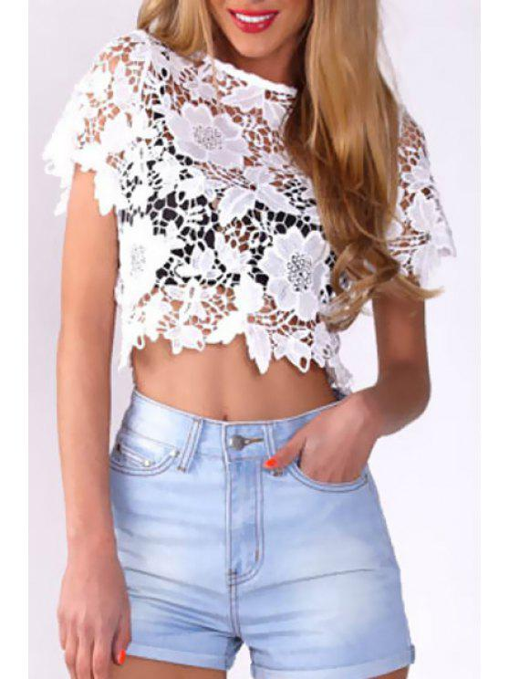 sale Hollow Lace Short Sleeve Crop Top - WHITE S