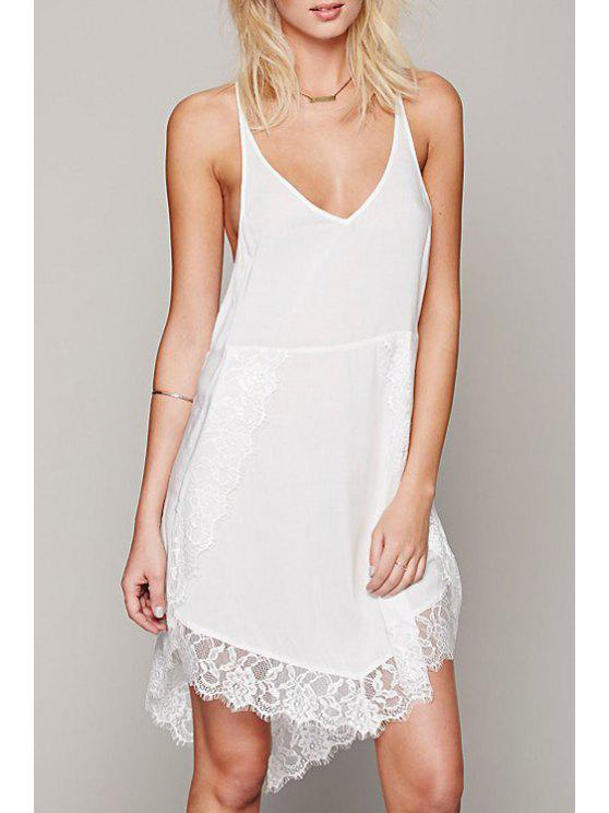 best Spaghetti Strap Lace Spliced Dress - WHITE S