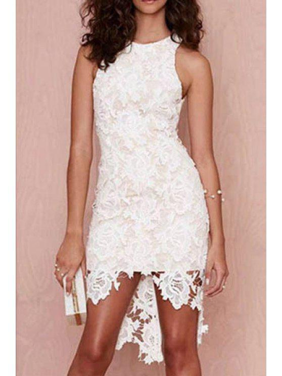 hot White Lace Round Neck Sleeveless Dress - WHITE S