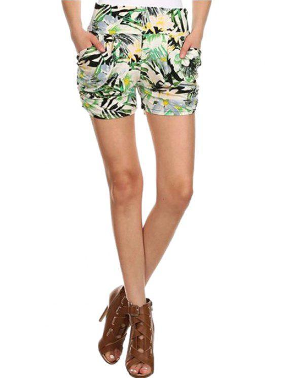 affordable High-Waisted Floral Print Pocket Design Shorts - GREEN S