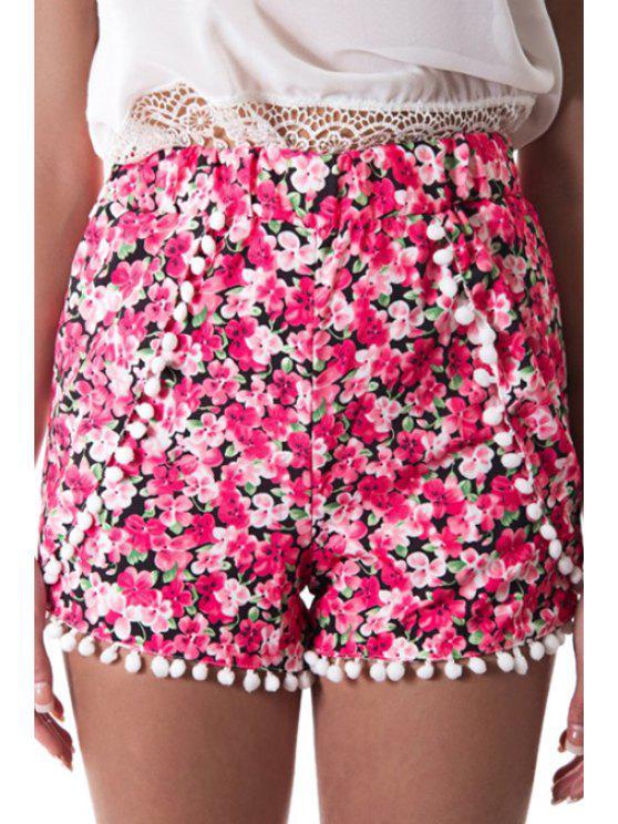 women's Elastic Waist Tiny Flower Print Laciness Shorts - RED S