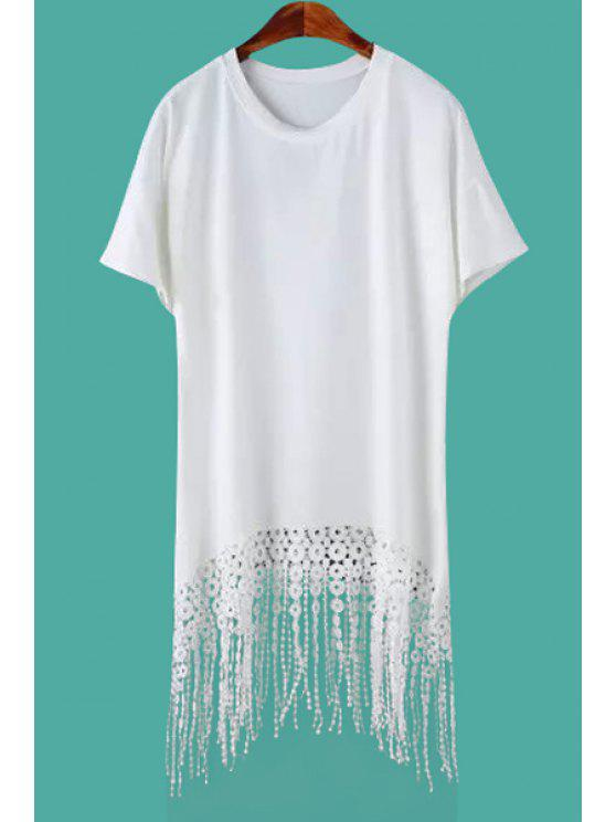 fashion Lace Tassel Splicing Short Sleeve Dress - WHITE M