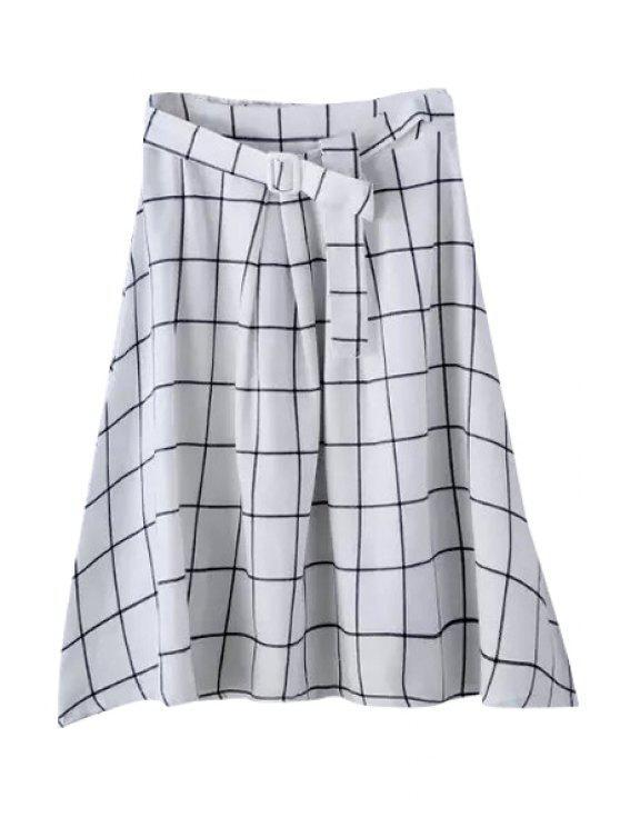 outfit Plaid Elastic Waist Belt Skirt - WHITE M