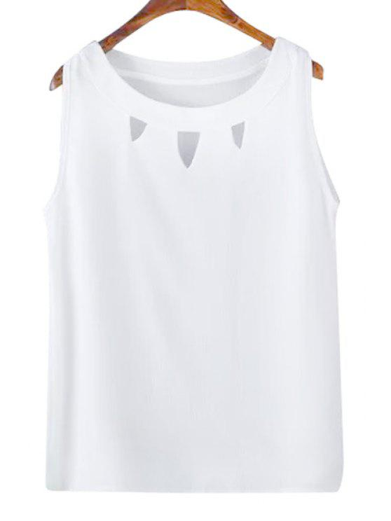 shops Solid Color Hollow Out Tank Top - WHITE M
