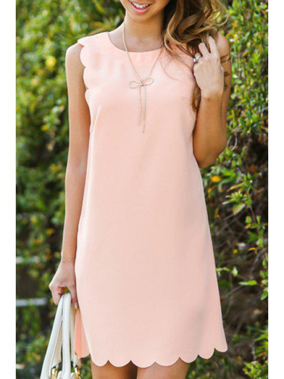 fancy Solid Color Wavy Hem Sundress - PINK S
