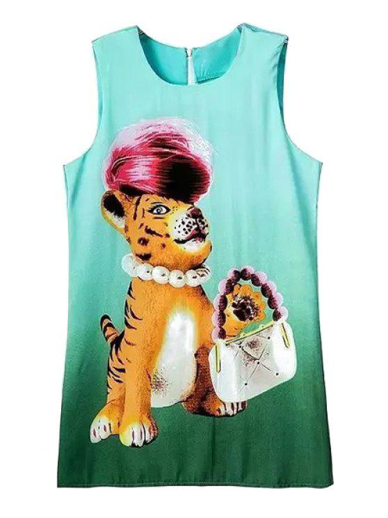trendy Jewel Neck Tiger Print Sundress - GREEN S