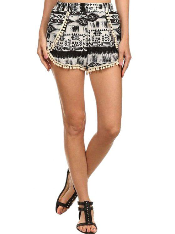 ladies Laciness Spliced Black and White Shorts - WHITE AND BLACK S