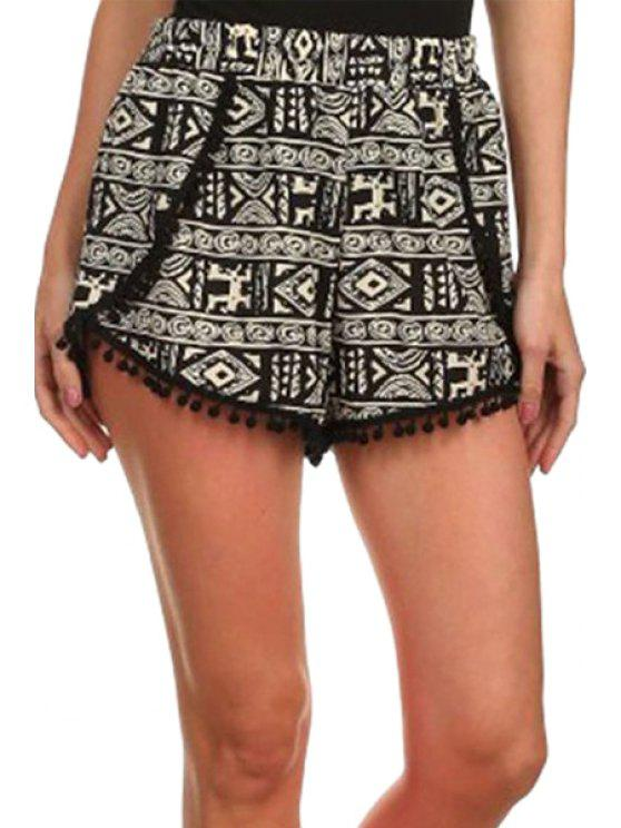 shops Laciness Spliced Geometric Print Shorts - COLORMIX S