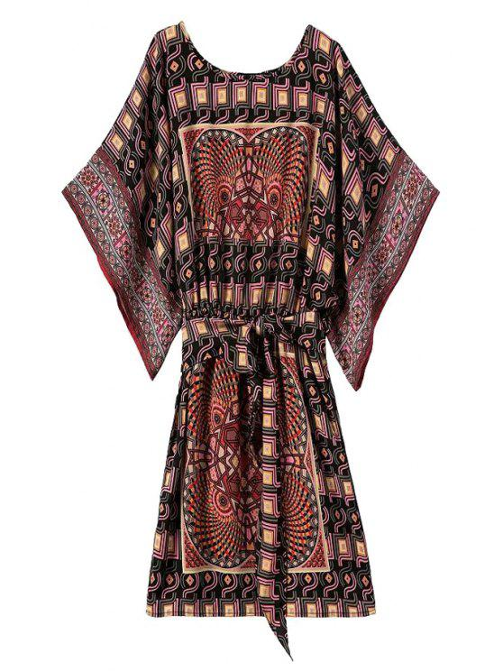chic Bat-Wing Sleeve Vintage Print Dress - COLORMIX S