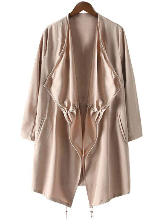 ladies Pocket Solid Color Long Sleeve Trench Coat - KHAKI XS
