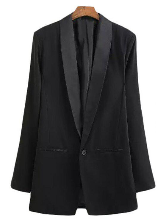 womens Lapel Solid Color Slit Long Sleeve Blazer - BLACK S