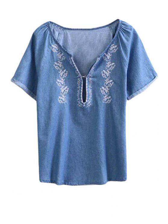 sale V-Neck Embroidery Denim Short Sleeve T-Shirt - BLUE S