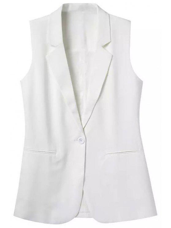 women Lapel Pocket Solid Color Sleeveless Waistcoat - WHITE L