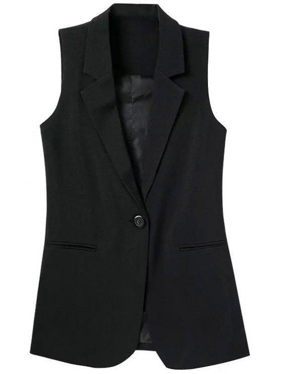 Chaleco de solapa sin mangas de color sólido - Negro S