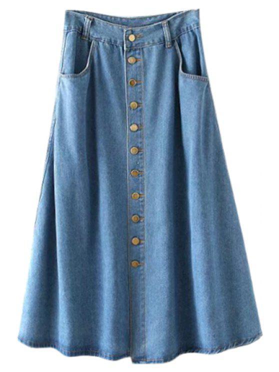 online Single-Breasted Bleach Wash Denim Skirt - LIGHT BLUE S