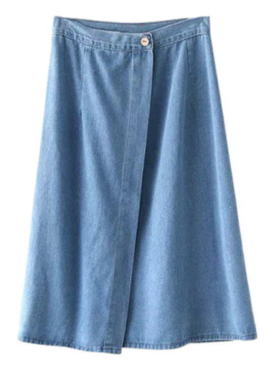 shop Bleach Wash Slit Button Fly Denim Skirt - BLUE S