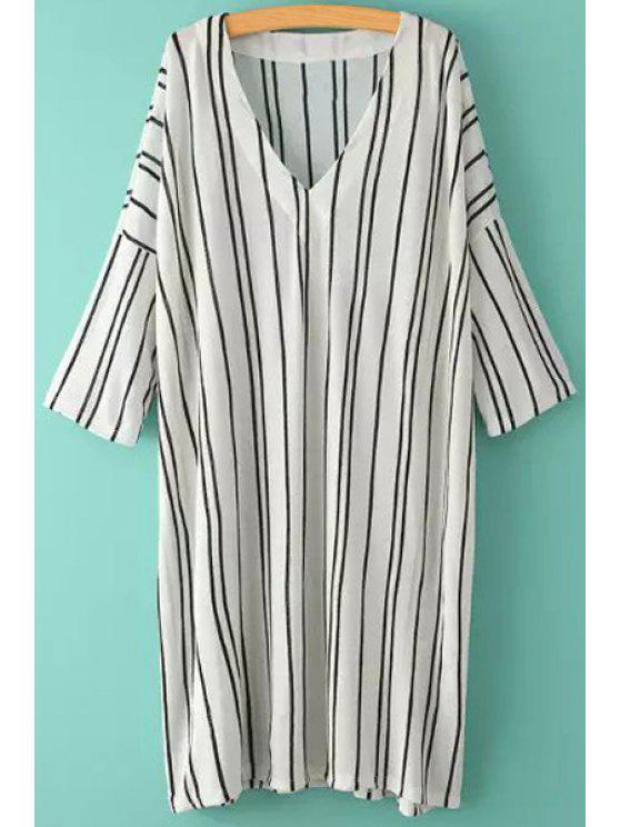 outfits Stripe Color Block Slit Half Sleeve Dress - WHITE ONE SIZE(FIT SIZE XS TO M)