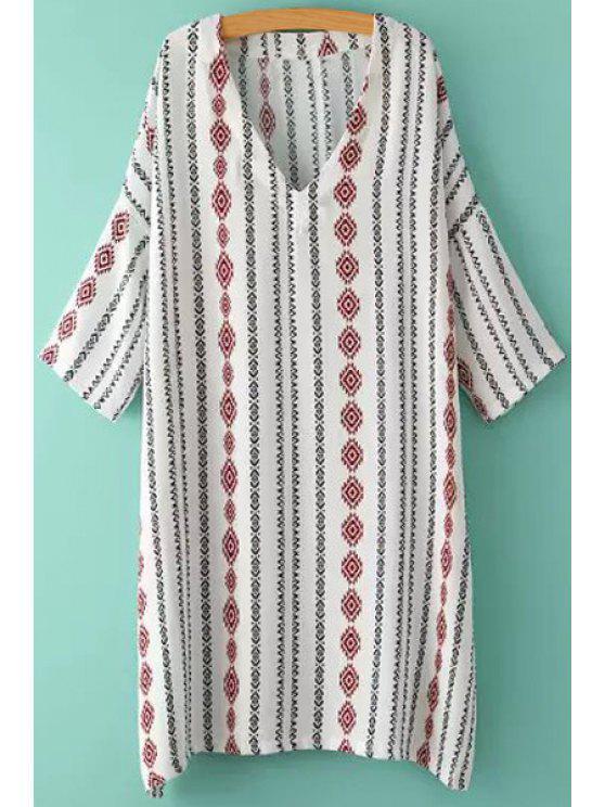 latest Argyle Stripe Print High Slit Half Sleeve Dress - WHITE ONE SIZE(FIT SIZE XS TO M)