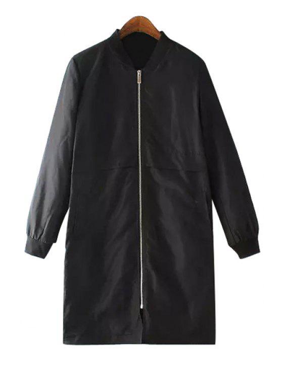unique Solid Color Stand Neck Coat - BLACK S
