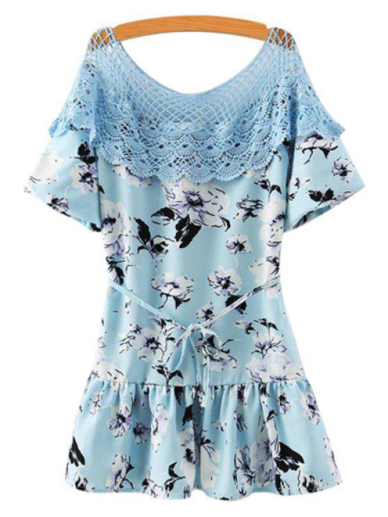 fashion Scoop Neck Lace Splicing Floral Print Dress - BLUE M