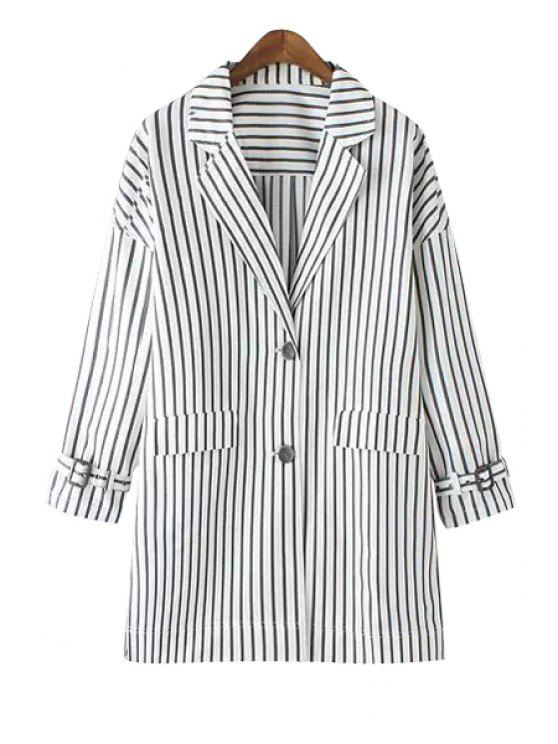 lady Striped Lapel Long Sleeve Coat - STRIPE S