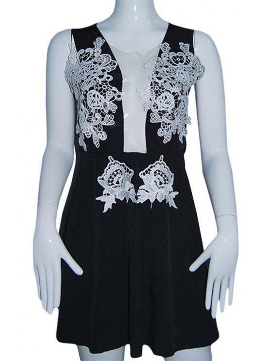 online Plunging Neck Lace Spliced A-Line Club Dress - BLACK S