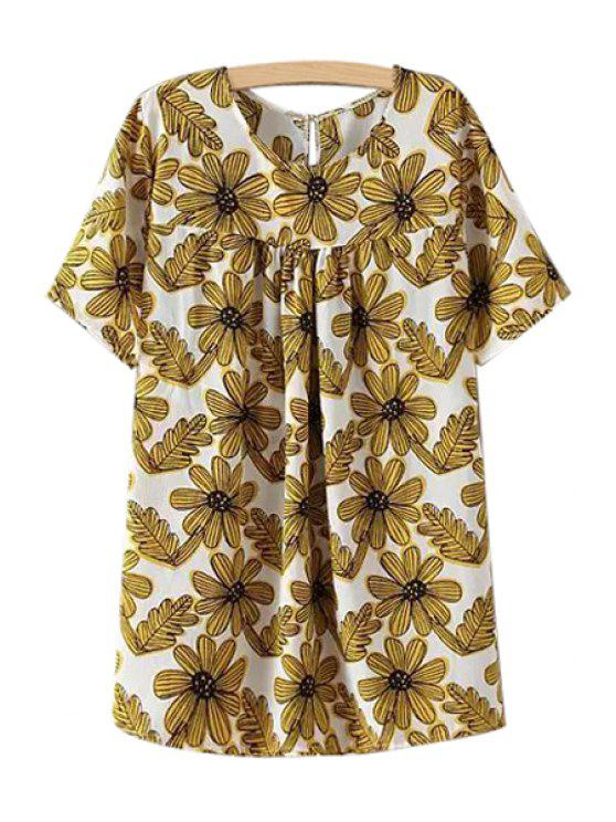 buy Short Sleeve Jewel Neck Floral Print Dress - YELLOW ONE SIZE(FIT SIZE XS TO M)