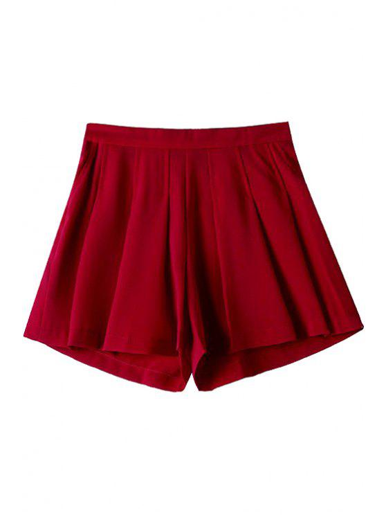 best Solid Color Loose-Fitting Zipper Fly Shorts - RED S