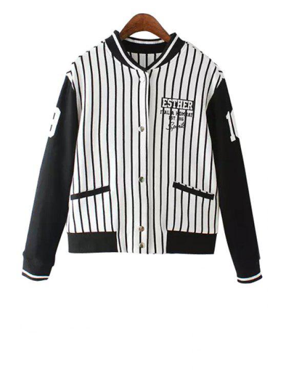 outfit Stripe Spliced Stand Neck Jacket - STRIPE S