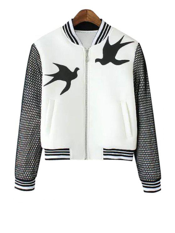 shops Swallow Print Stand Neck Jacket - WHITE S