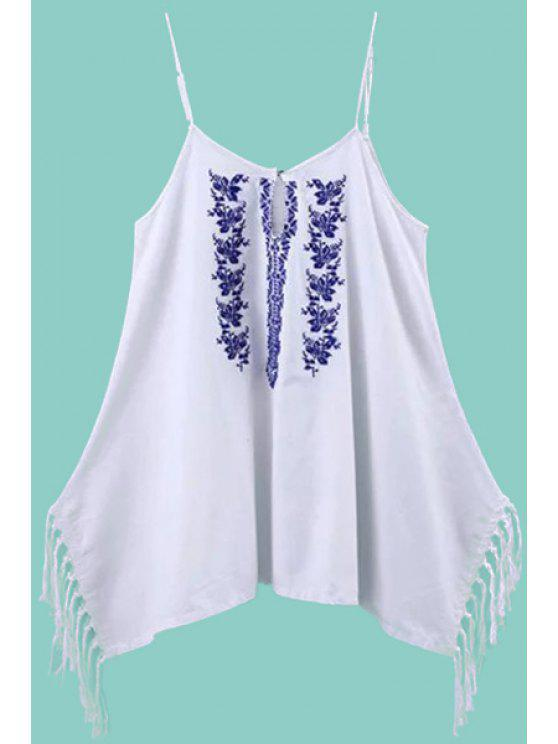 trendy Spaghetti Strap Floral Embroidery Fringe Splicing Dress - WHITE S