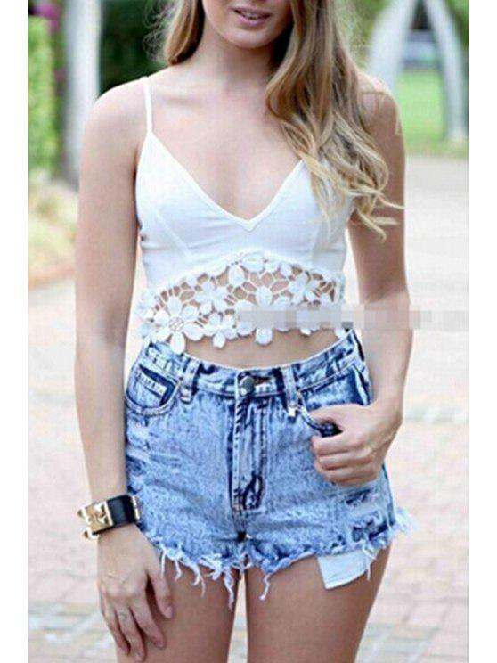 outfits Crochet Flower Spliced Spaghetti Strap Crop Top - WHITE S