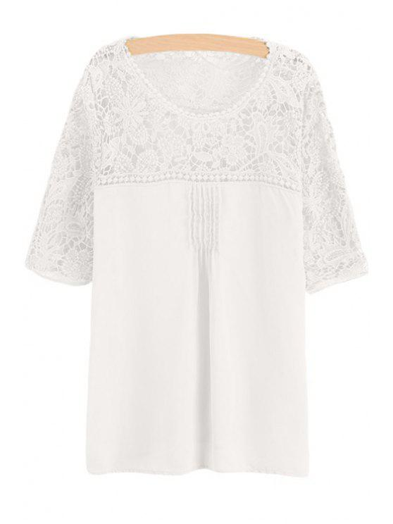 fancy Lace Spliced Crochet Flower Chiffon Blouse - WHITE S