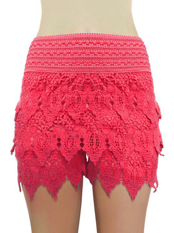 fancy Solid Color Lace Multi-Layered Shorts - RED M