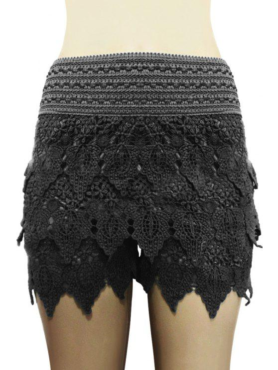 ladies Solid Color Lace Multi-Layered Shorts - BLACK L